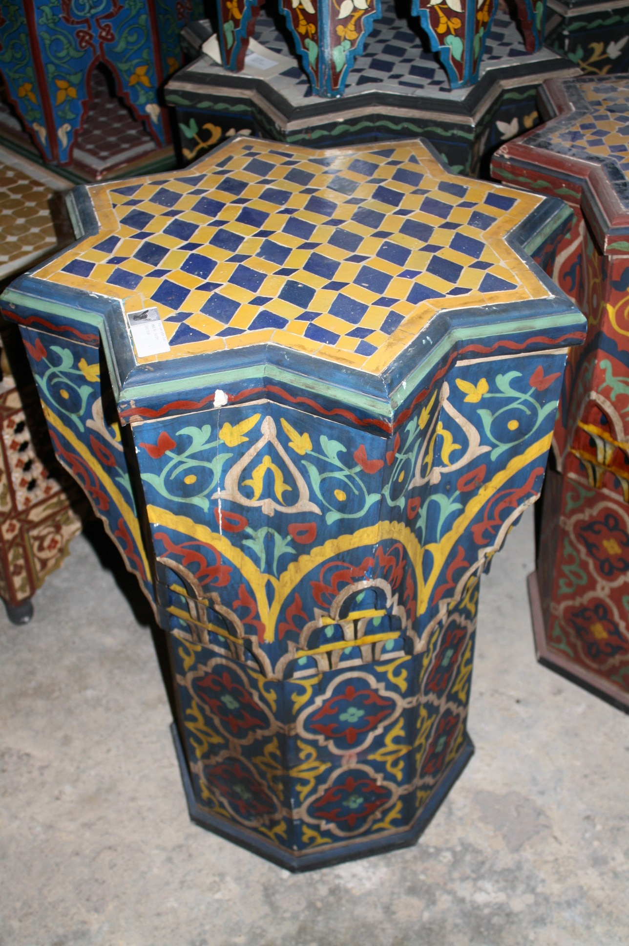 Star shape hand painted table moroccan furniture los angeles for Moroccan hand painted furniture