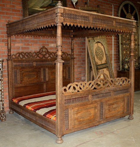 Hand Carved Bed: Moroccan Furniture Los Angeles