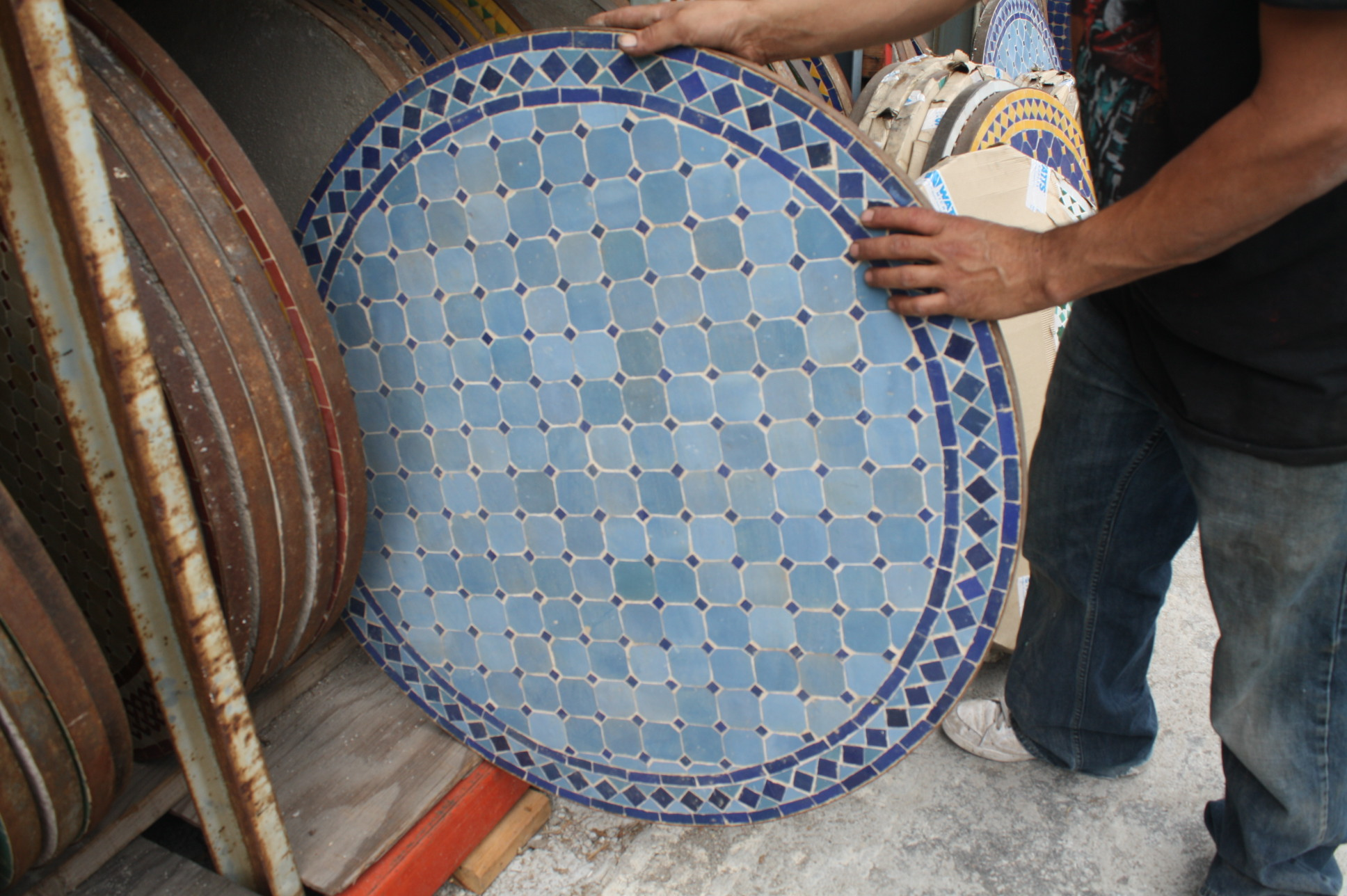 Decorative Mosaic Tile Round Table Moroccan Furniture Los Angeles