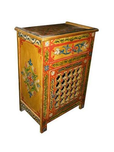 Hand painted moroccan stand moroccan furniture los angeles for Moroccan hand painted furniture
