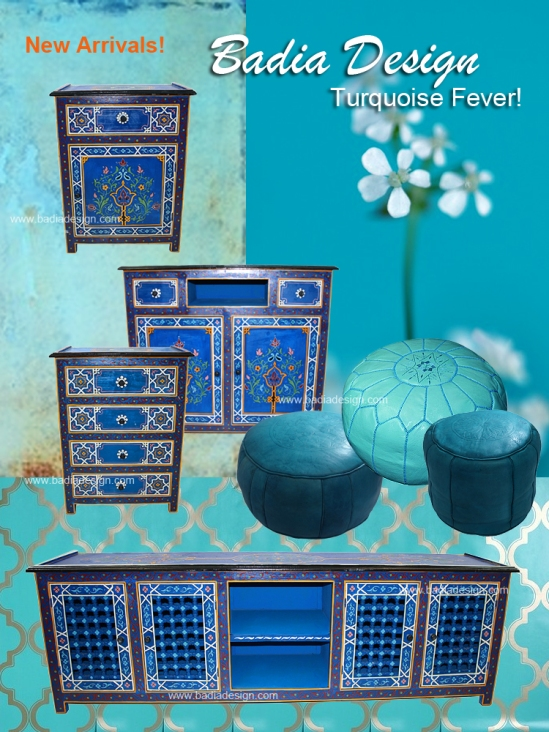 Moroccan Hand Painted Turquoise Furniture Moroccan