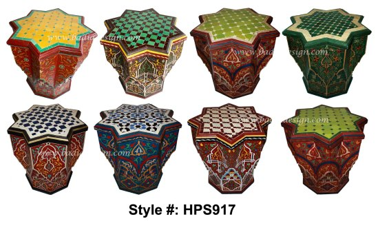 Moroccan Hand Painted Star Shaped Side Table