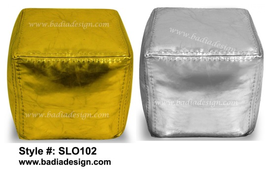 Moroccan Square Metallic Leather Ottoman