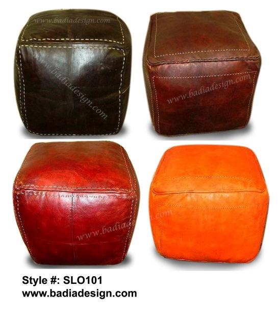 Moroccan Square Leather Ottoman