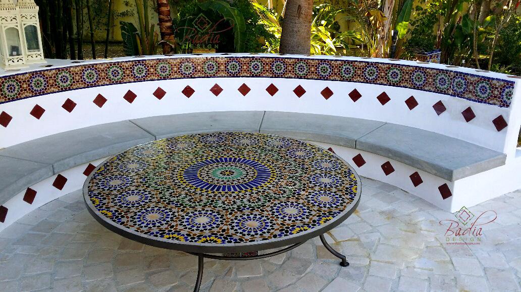 Moroccan mosaic tiles moroccan furniture los angeles for Moroccan style garden ideas