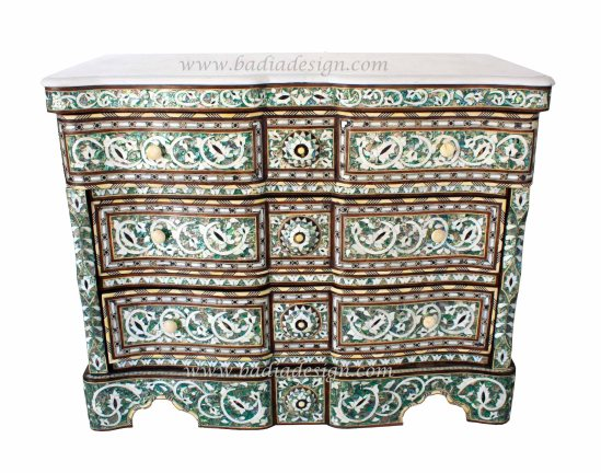 High end Syrian furniture, Syrian Dresser with White Marble Top, Syrian dresser, Syrian furniture, imported Syrian furniture, Syrian furniture Los Angeles, Syrian furniture West Los Angeles, Syrian furniture Beverly Hills, imported Syrian furniture