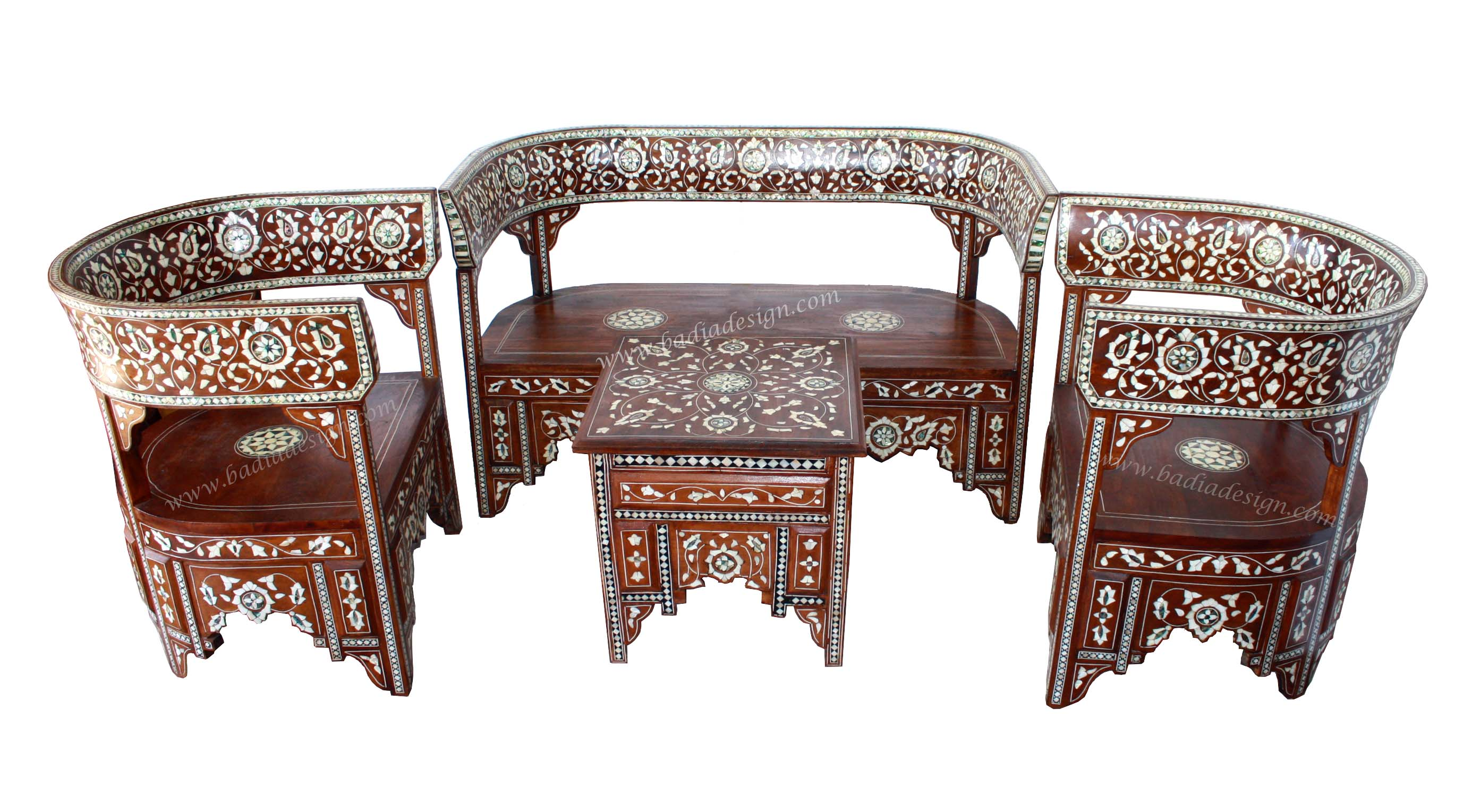 Moroccan Mother Of Pearl Living Room Set, Moroccan Mother Of Pearl Bench,  Mother Of