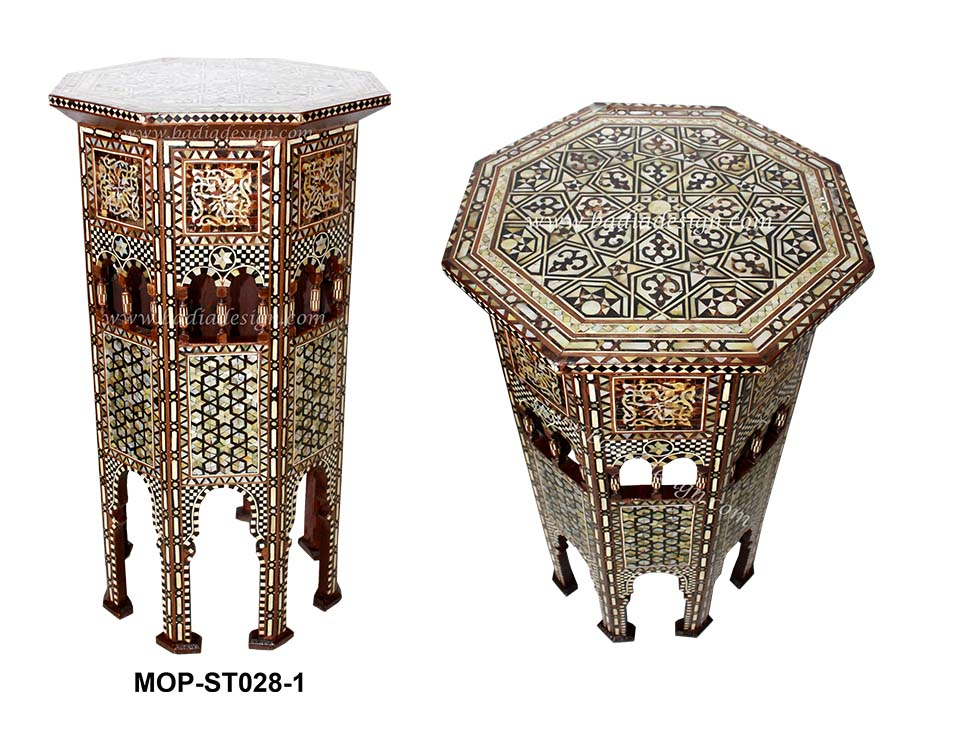 Moroccan mother of pearl inlay side table from badia for Oriental furniture los angeles