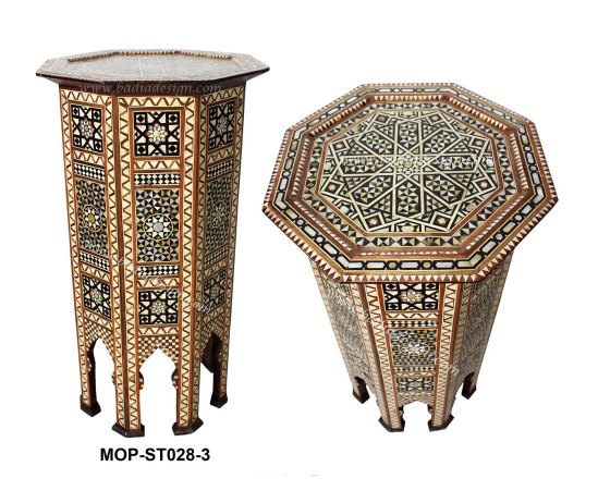 Moroccan Mother Of Pearl Inlay Side Table From Badia