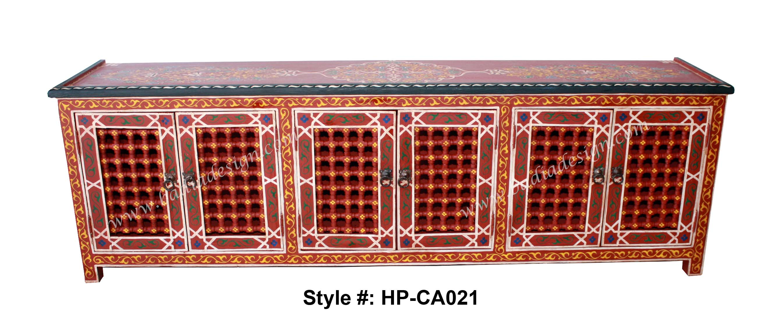 Moroccan Hand Painted Cabinet, Hand Painted Cabinet, Moroccan Hand Painted  Wooden Cabinet, Moroccan