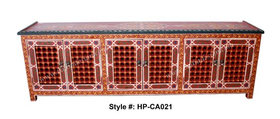 Moroccan Hand Painted Cabinet, hand painted cabinet, Moroccan hand painted wooden cabinet, Moroccan hand painted furniture, hand painted furniture from Morocco, Moroccan cabinet, large hand painted cabinet, large wooden cabinet, large red Moroccan cabinet, Moroccan TV console, Moroccan television console, television console, wooden television console, large wooden television console, large Moroccan television console
