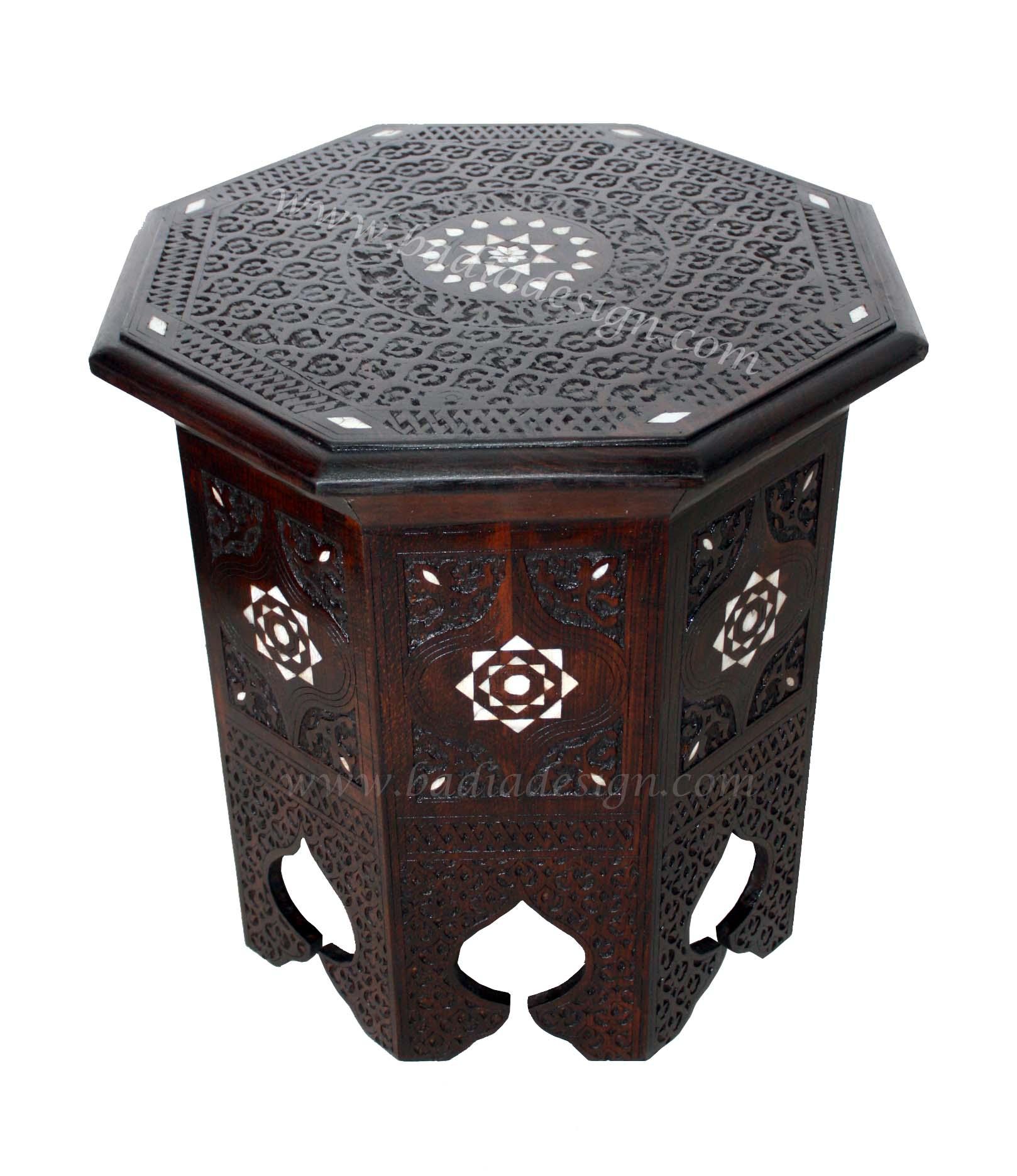 Moroccan Bone Inlay Side Table Moroccan Furniture Los Angeles