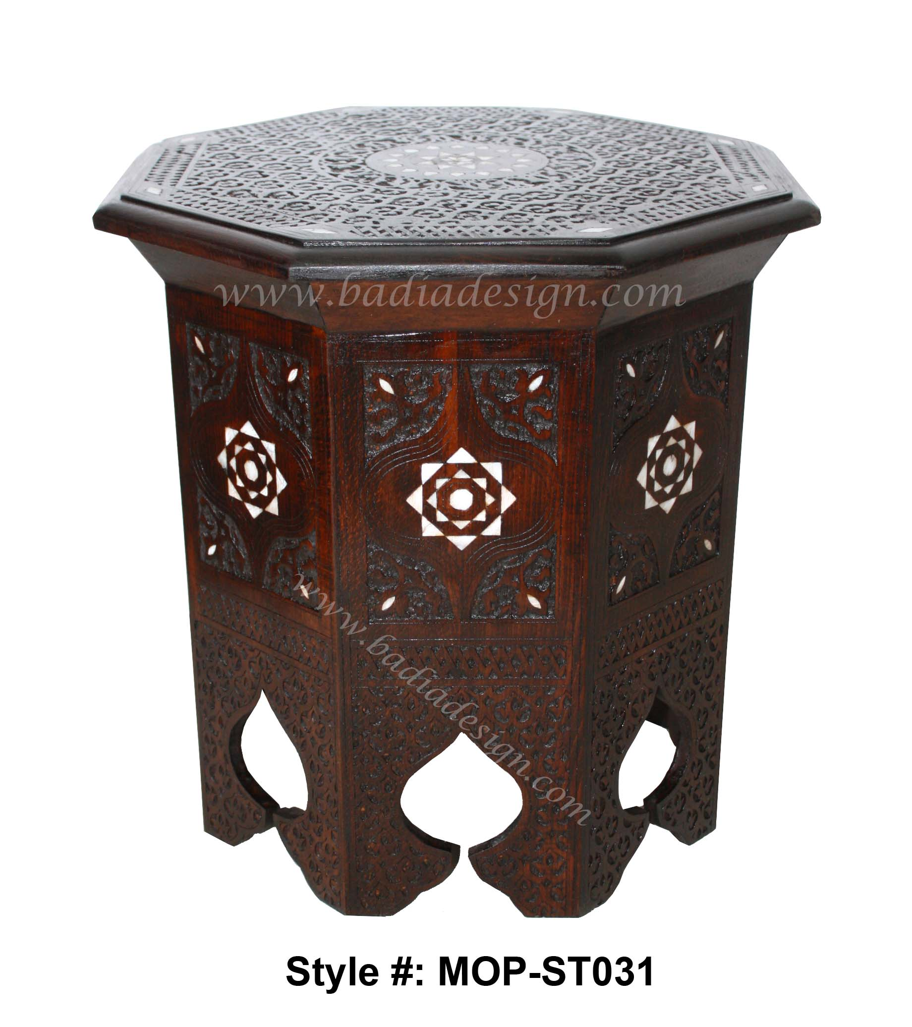 Moroccan Bone Inlay Side Table, Moroccan Mother Of Pearl Inlay Side Table,  Moroccan Bone