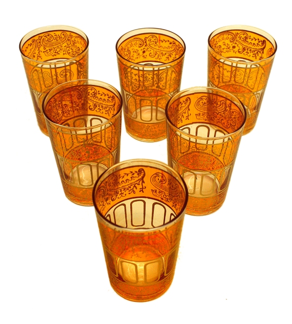 Moroccan Floral Tea Glasses, floral tea glasses, tea glasses, Moroccan tea glasses, traditional Moroccan tea glasses, Moroccan tableware, Moroccan gold motif tea glasses, Moroccan motif tea glasses, Moroccan tea glasses with gold motif, Moroccan tea glasses with silver motif, Moroccan tea glasses Los Angeles