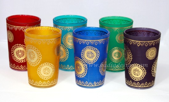 Moroccan tea glass sale, Moroccan Floral Tea Glasses, floral tea glasses, tea glasses, Moroccan tea glasses, traditional Moroccan tea glasses, Moroccan tableware, Moroccan gold motif tea glasses, Moroccan motif tea glasses, Moroccan tea glasses with gold motif, Moroccan tea glasses with silver motif, Moroccan tea glasses Los Angeles