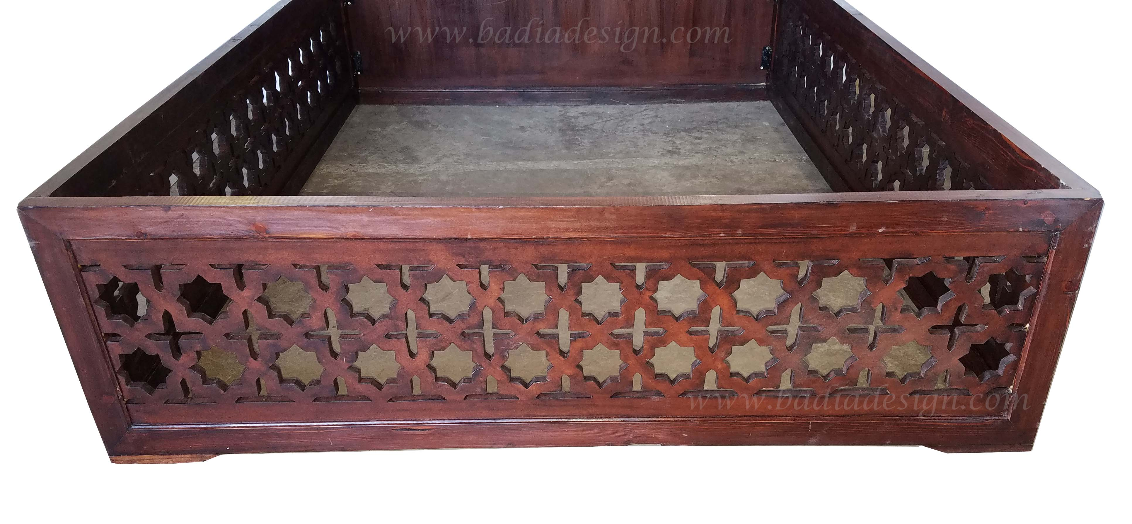 Moroccan Dark Stained Wooden Bed